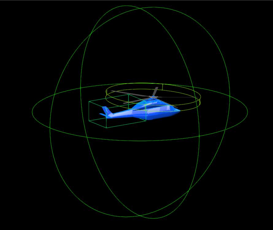 Régions de raffinement du réseau de Lattice autour de l'hélicoptère H175