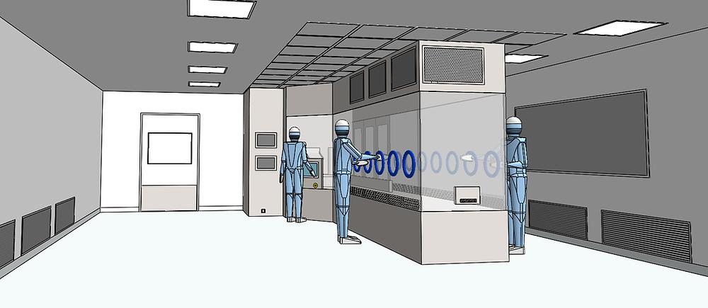 Salle blanche équipée d'une machine de production avec flux laminaires en plafond et extraction d'air en parois latérales