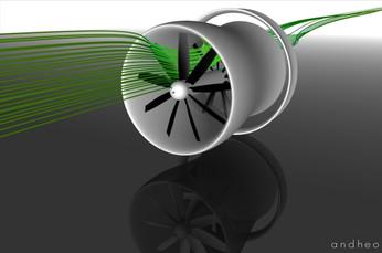 Analyse aérodynamique d'une éolienne carénée à double rotor contra-rotatif