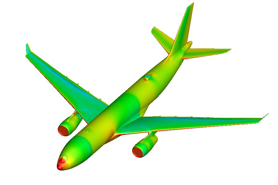 Airbus A330 avec SUMS - champ de pression pariétale
