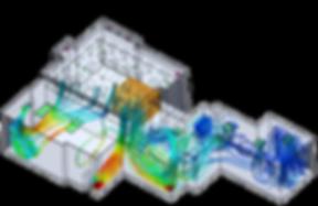 Flux d'air dans un local d'industrie pharmaceutique obtenu par simulation aéraulique