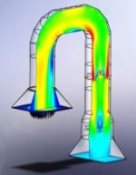 Résultats d'un calcul CFD dans un circuit de traitement par catalyse des oxydes d'azote. Crédits : Andheo