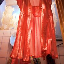 Photoproject. Pink district. Examination on temporary shine and dirt, inspired by dress found in secondhand shop on Utrecht.