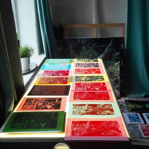 Linolioum print multiple layer - A4 Linoleum print on paper