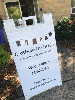 Clothed in Faith sign