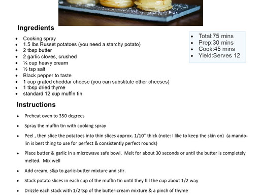 Easy To Make...Cheesy Muffin Tin Potato Stacks