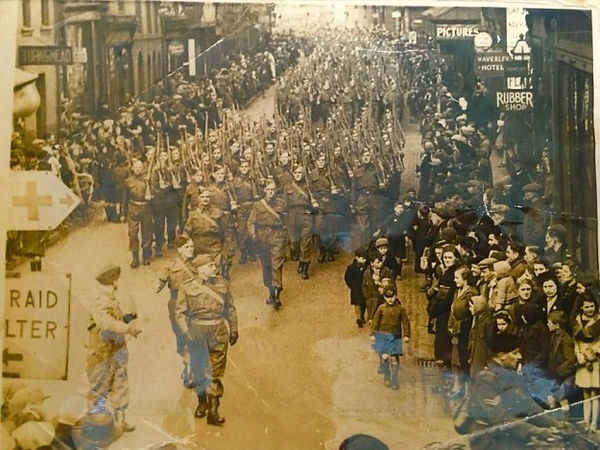 Home Guard march on Tangier Street befor