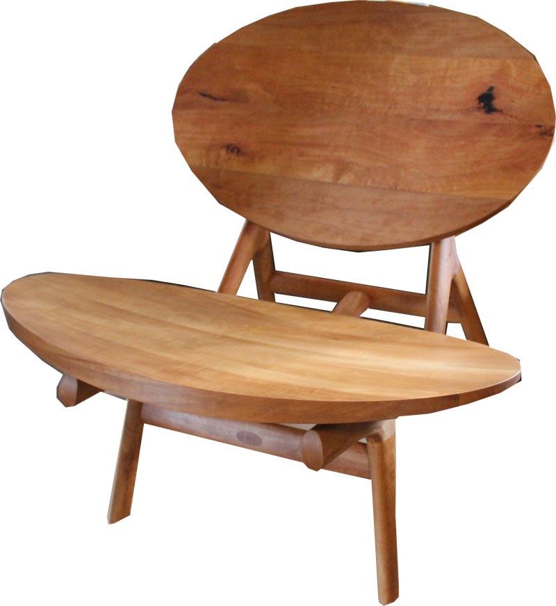 Stuhl Ovalis in Birnbaum