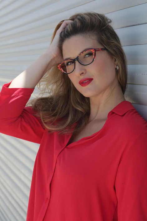 model with hand painted eyewear
