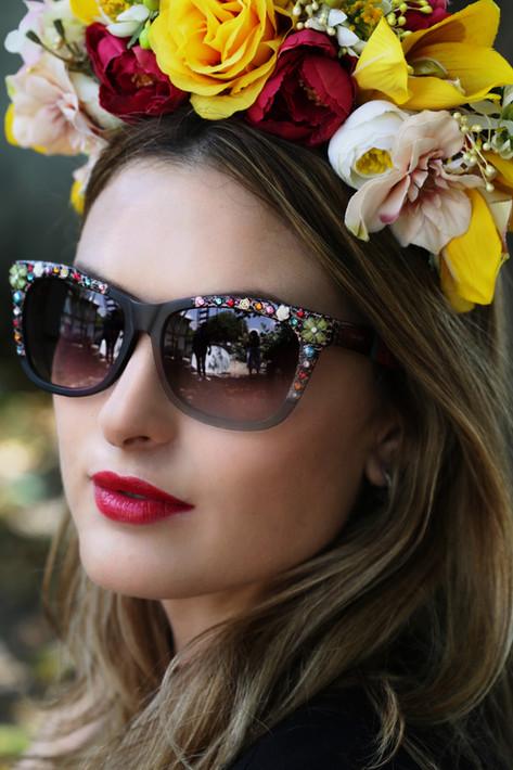 model with eyewear