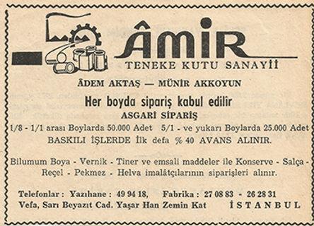 Amir Teneke Kutu'nun ürünleri ve hizmetleri ile ilgili verdiği gazete ilanı