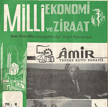 Amir Can Industry made the cover on Milli Ekonomi ve Ziraat magazine