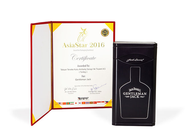 Jack Daniel's Gentleman Jack Tin And Teksan's 2016 AsiaStar Best of Best Packaging Award