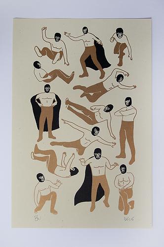 Luchador Risograph Print