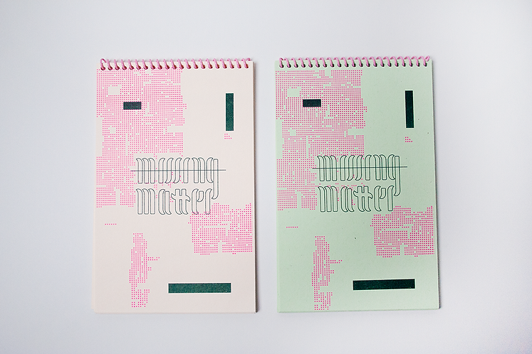 """Missing Matter"" Risograph, Spiral Bound Book"
