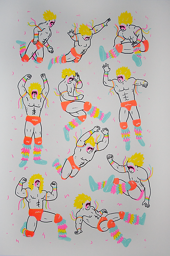 """""""The Ultimate Warrior"""" Riso print"""