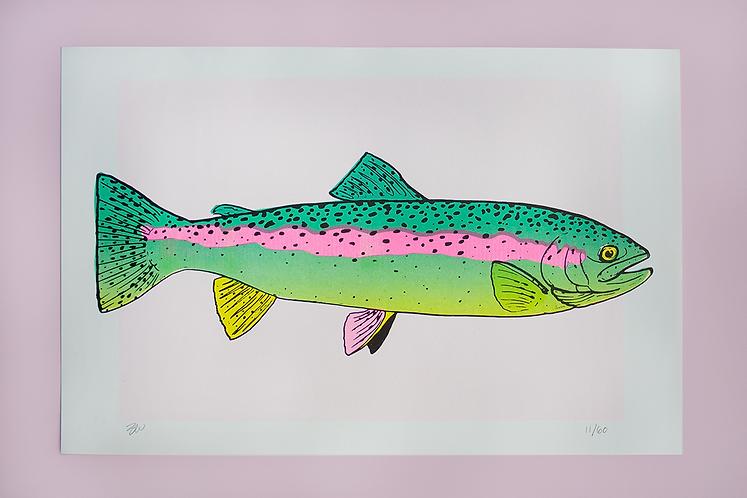 Rainbow Trout Risograph Print