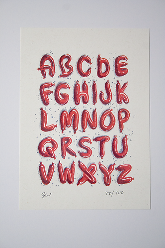 Sausage Alphabet Risograph Print