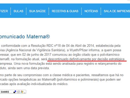 Comunicado - Materna descontinuação definitiva - MATERNA CPR