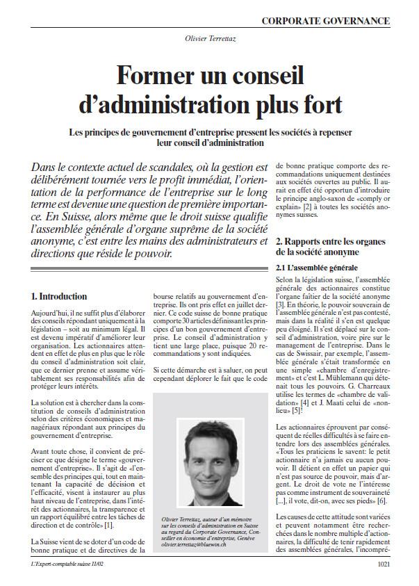 Article d'Olivier Terrettaz dans L'Expert-comptable suisse de novembre 2002