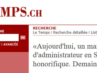 «Aujourd'hui, un mandat d'administrateur en Suisse est honorifique. Demain, il sera stressan