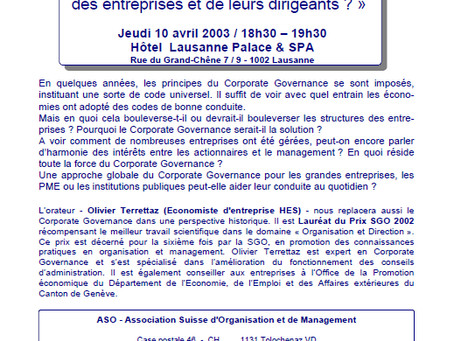 Corporate Governance : simple effet de mode ou véritable enjeu organisationnel des entreprises et de