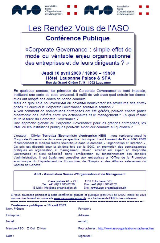 Flyer de la conférence publique de l'ASO du 10 avril 2003