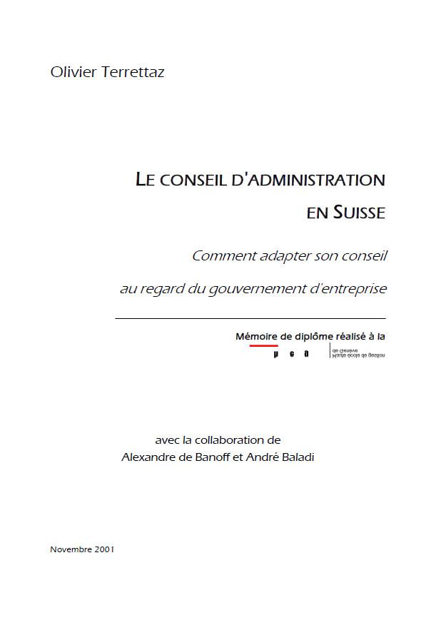 Mémoire sur les Conseil d'administration en Suisse