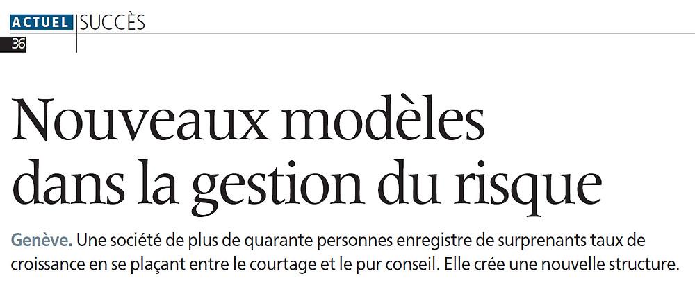 Article sur les nouveaux modèles dans la gestion du risque du 31 mars 2005
