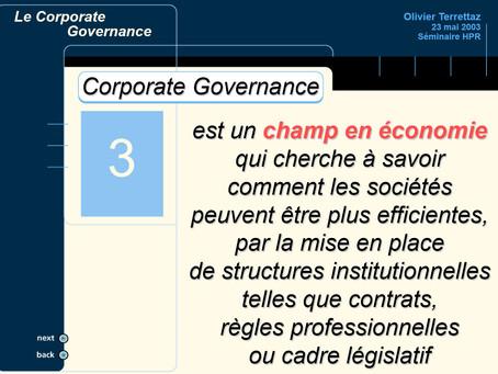 Corporate Governance ... kesako ?