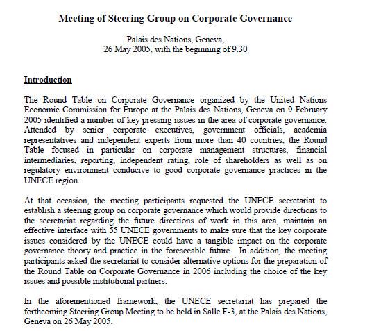 Programme de la table ronde de la Commission économique pour l'Europe de l'ONU du 10 et 11 février 2005
