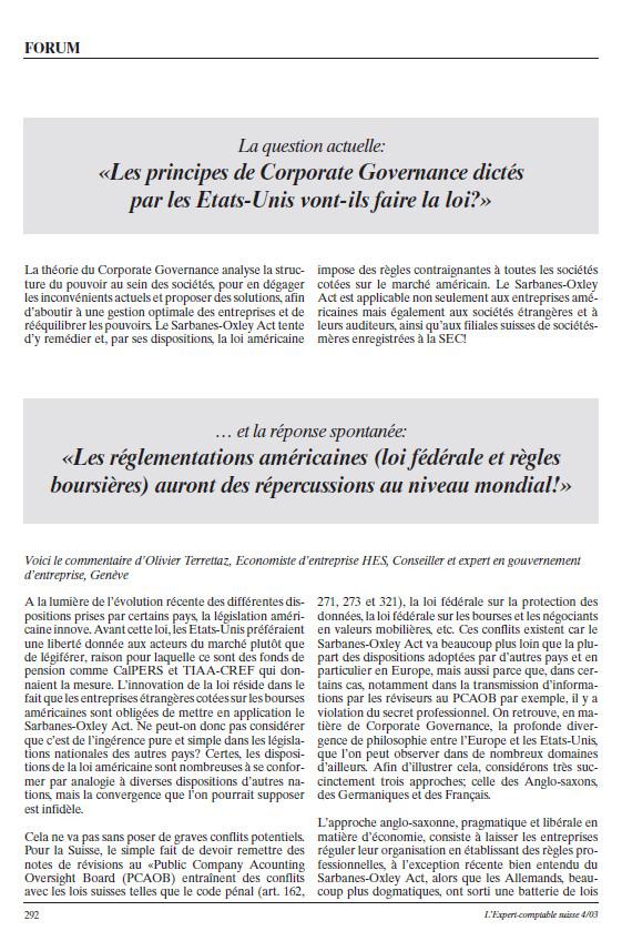 Article d'Olivier Terrettaz dans L'Expert-comptable suisse d'avril 2003