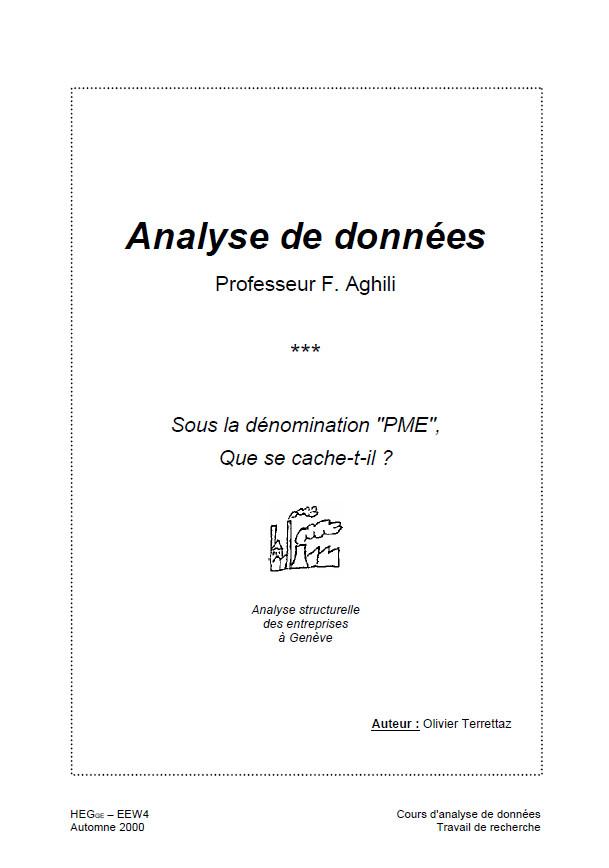 Travail de recherche d'analyse de données réalisé par Olivier Terrettaz