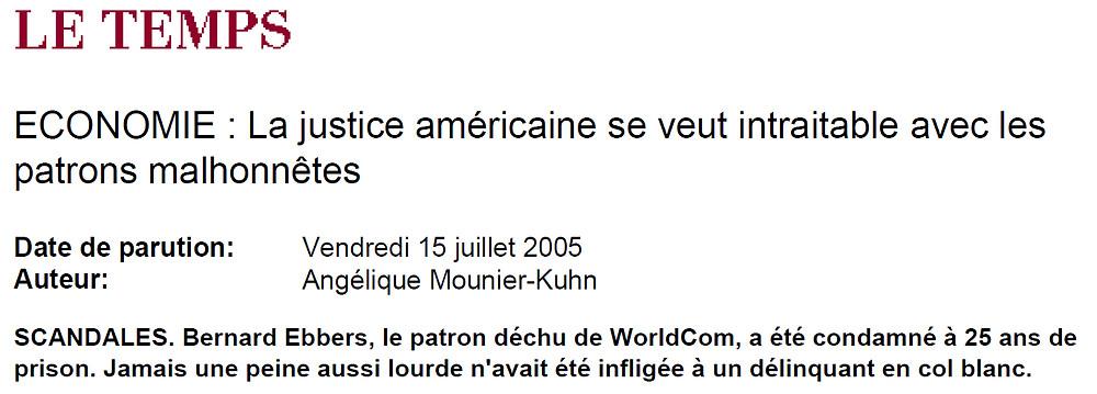 Le Temps du 15 juillet 2005