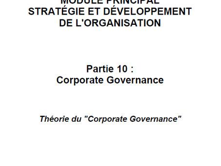 """Stratégie et développement de l'organisation : Théorie du """"Corporate Governance"""""""