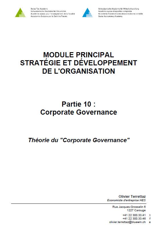 AEC - Stratégie et développement de l'organisation - Module 10 : Théorie du Corporate Governance