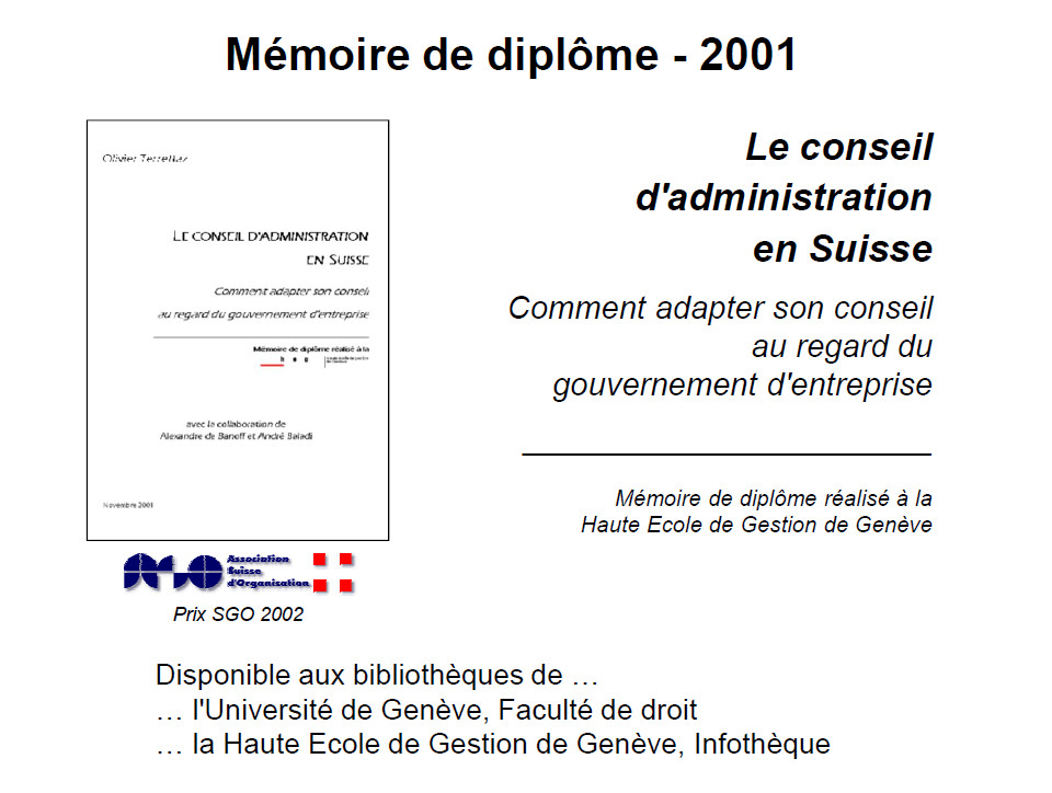 Mémoire de diplôme réalisé en 2001