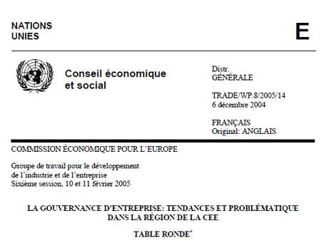 """""""La gouvernance d'entreprise : Tendances et problématique dans la région de la CEE"""""""