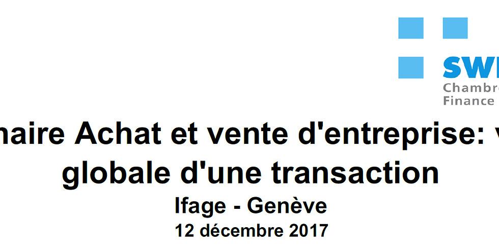 F - 12.12.2017 > Genève   swisco   Séminaire - Achat-vente d'entreprise