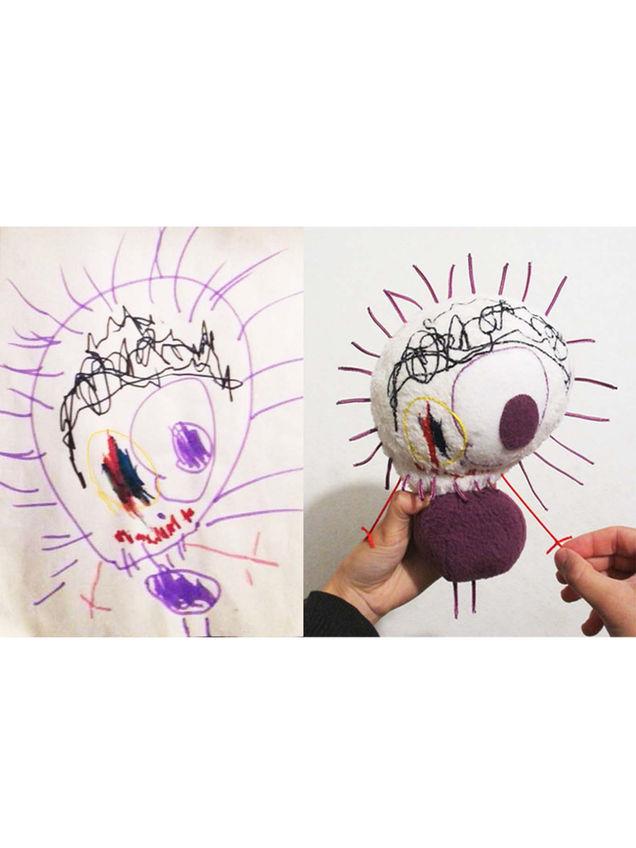 Peluche personnalisée d'après un dessin d'enfant