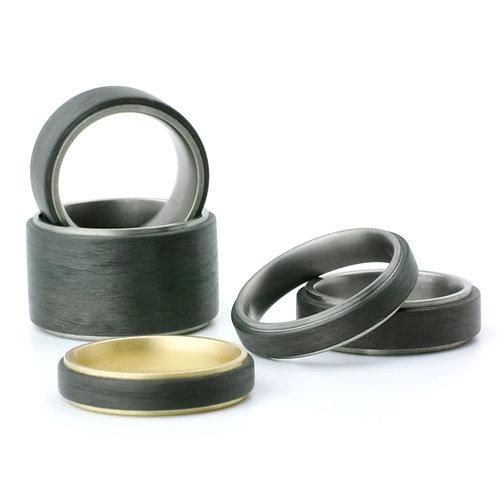 Carbon Ring/Ringe mit Titan, Silber oder Gold - flach