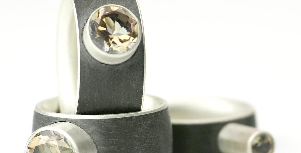 Carbonringe mit Sterlingsilber und Topas