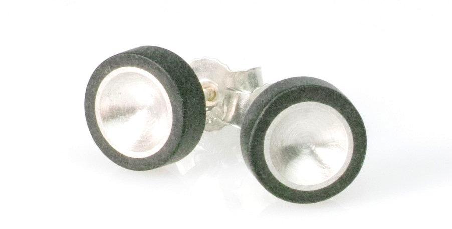 Ohrstecker klein/rund mit Tellerförmiger Silber oder Titaneinlage