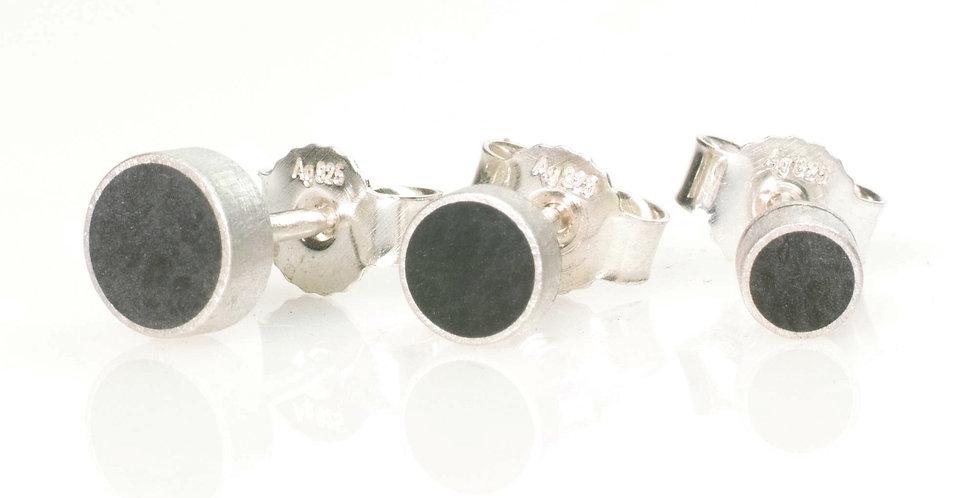 Runde Silberstecker mit Carbon Einlage