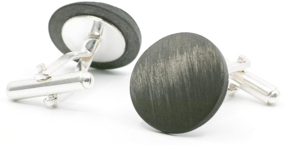 Carbon Manschetten-knöpfe rund