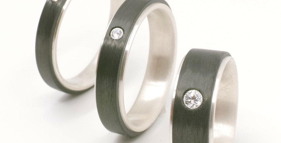 Carbon-Silber-Ring flach mit Zirkonia oder Brillant