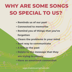 We discussed why some songs are so specialimportant to us Reminds of of our past Connected