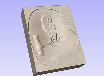 Owl design ready to be carved in stone