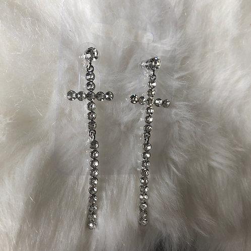 Silver Diamanté Cross Drop Earrings
