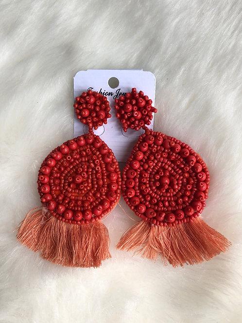 Emily Tassel Earrings - Red